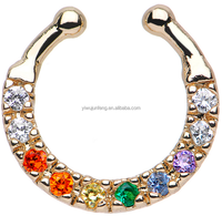 Multi CZ Gold Plated Wreath of Sparkle Non-Piercing Fake Septum Piercing