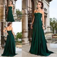 Free shipping cost!Gemstone emerald green a line sweetheart ruffles chiffon bridesmaids dresses