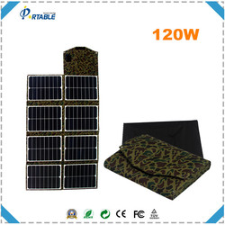 hottest selling 120W sunpower folding solar rechargeable bag for car