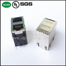 10/100Base-T Connector/Magnetic 2x1 ports RJ45 Connector with LED Integrated Transformer