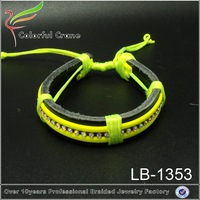 Colorful braided cowhide leather bracelet with crystal