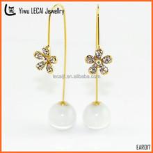 New Design Fashion Gold Thread Earrings,Rhinestone Flower Opal Long Pendant Earrings For Female