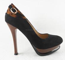 Señora de dama de moda zapatos de imitación de madera del grano de tacón alto y plataforma zapatos leopard bombas de empalme
