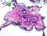 Voile square scarf with beads