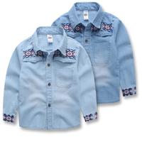 MS70346B 2015 new model kids shirts fancy emboidered boys denim shirt