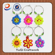 new design cheap price hot sale many color flower wine charms smile charms