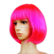 Hot selling cheap synthetic short hot pink bob party wigs