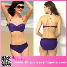 Woman Sexy Bikinis Purple Push-up Bandeau Mesh Insert sexy swimsuit hot micro bikini girl Bikini