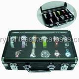 10 Grids Aluminum + PVC Box Slots Watch Jewelry Display Storage Flight Case