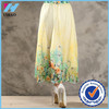 Trade Assurance Yihao 2015 Fashion Women Summer Spring Vintage Ethnic Floral Design Chiffon Pleat Long Skirt