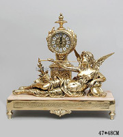Antique Gold Decorative Desk Clock With Brass Figurine, European Style Home Decor Bronze Table Clock
