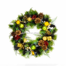 2015 Hot Sale White Berry Christmas Wreath ,Artificial Flower Wall Hanging artificial flower head wreaths,hand making flowers