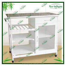 2015 new design and mordern wooden butcher/kitchen trolley with stainless steel top