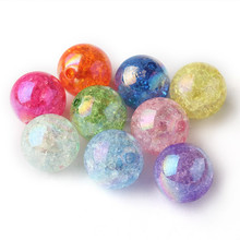 CB1205310 Newest 20mm Acrylic Crackle Beads AB Shiny Chunky Gumball Necklace Beads