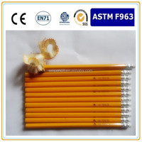 "7""Hex yellow HB pencil with eraser,cheap wholesale pencils,EN71-3 ,FSC certificate ,OEM manufactory"