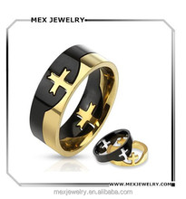 Cheap Custom Stainless Steel Black Gold Two Tone Cross Puzzle Ring Wholesale