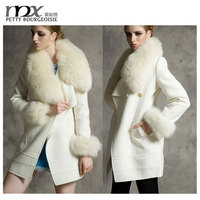 Sexy slim women coat long fur collar coat pure white coat