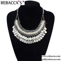 2015 vintage high quality silver planted beaded coin jewelry necklace