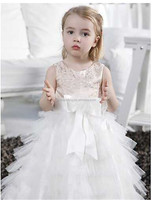 Korean Fashion Girl Style Dresses Oganza Long Baby 1 year old Party Flowers Girl Dress Pattern Party Wear Dresses for Girl D7