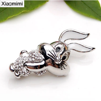Cute retro style gold silver two-color flashing rabbit collar pin brooch