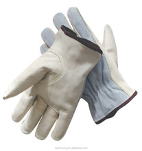 high quality grain cowhide palm split back beige color working driver gloves with compeititve price