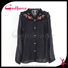 2015Ladies Casual EMB Blouse with Soft and Comfortable Fabric