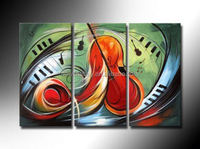 100% Hand painted Fiddle music strings Abstract landscape Wall home Decor Oil Painting on canvas 3pcs/set mixorde Framed