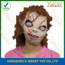 X-MERRY Scary Scar On Baby Face Bridge Of Chucky Mask With Hiar Halloween Cosplay Costume Hood Party Decoration Carnival Mask