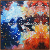 Oil Painting Style Factory Direct Poly Satin Digital Printed Fabric For Home Textile