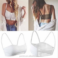 Newest Fashion Sexy Solid Color Tanks Girls Padded Hollow Out Backless Short Tanks Tops Women One Size Black White Crop Top