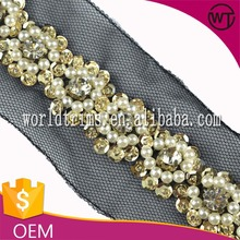 Hot selling pearl and rhinestone mesh trimming for dresses WTA119
