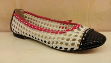 2015 New Arrivals PU Leather Thong Cross Weave Red Edge Design White Upper Style Mixed Color Slip - on Pumps Single Shoes