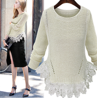 Z86567A europe fashion loose white blank plain knitted lace ladies sweaters