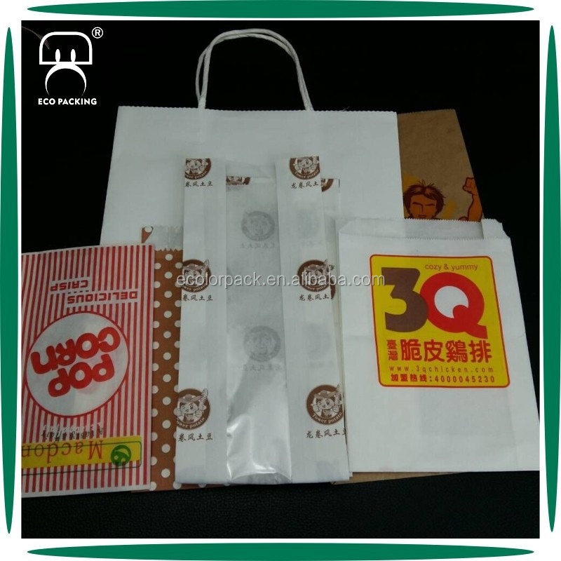 Food Grade Disposable Take Away Paper Food Bag