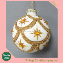 Vintage Christmas Glass Ornament Gold-Brown Small Balls -Brand NEW