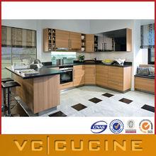 Guangzhou Foshan factory wood grain MDF cheap kitchen cabinet