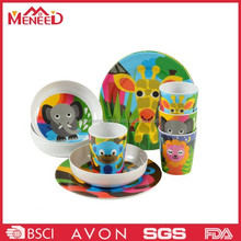 Cartoon animal print popular among children plastic melamine brilliant dinnerware set