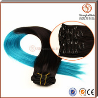 100% Human Hair Colored Two Tone Ombre Hair Clip In Braiding Hair Extensions