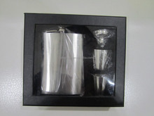 6oz and 7oz and 8oz sanding hip flask with small funnel and 2pcs cup in gift box