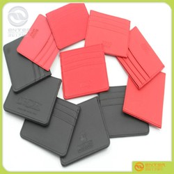 pu leather id card holder as gift pu leather credit card, embossed,imprint payment by t/t