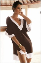 Side Split Tshirt Tee Shirt Sexy Casual Summer Beach Cover Ups Short Loose Comfortable Dress Elegant Mini Dress