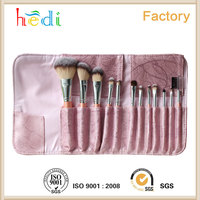 12 PCS Professional Makeup Brushes Set Natural Cosmetic Brush Set with Leather Cae Bag for Eyeliner Face Concealer