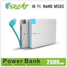 Innovations design new mobile accesso emergency portable polymer battery 2500mah power bank for samsung galaxy note3 power bank