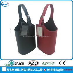 Eco-friendly PU leather portable wine carrier manufacturer