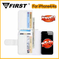 Best selling mobile phone case, wallet sublimation pu leather case for iphone 4/4s with card slot