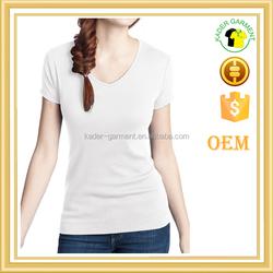 blank white deep v neck t shirt