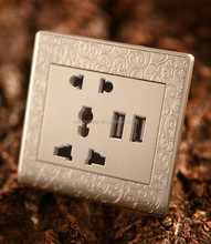 International Universal Double golden USB Outlet Power, Wall Socket Plug, Phone charger