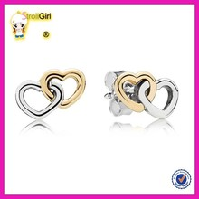 Hot sale plated gold and platinum heart earring new design double open heart earring design for party girl