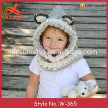 W-365 cute children patterned animal hat wolf cowl crochet hooded winter hat