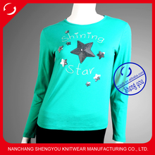 Sequin embroidery custom girls top fashion t shirt